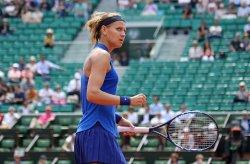 Lucie Safarova of the Czech Republic reacts after a shot