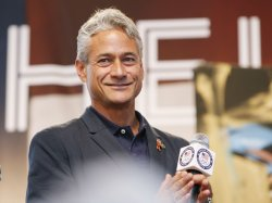"""Greg Louganis takes part in the """"Road to London"""" celebration in Time Square in New York"""