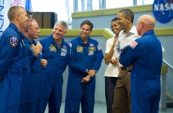 President and First Lady meet shuttle crew at Cape Canaveral