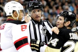 Linesman Seperates Penguins Cooke and Devils Zubrus in Pittsburgh