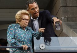 Dr Ruth Westheimer watches opening night ceremonies at the US Open Tennis Championships in New York