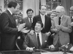 President Reagan Applauded After Signing Legislation