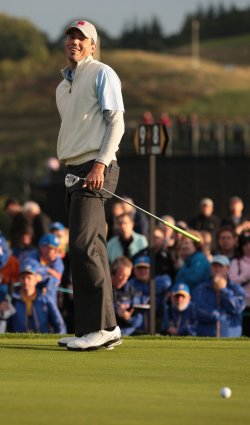 Matt Kuchar smiles on the first day of Ryder Cup.