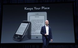 Jeff Bezos talks about the new Kindles during a news conference in Santa Monica, California