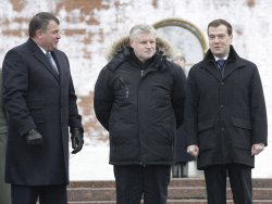 Russian President Medvedev attends a wreath laying ceremony at the Tomb of the Unknown Soldier