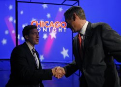 Kirk and Giannoulias shake hands in Chicago