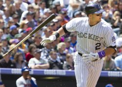 Rockies Tulowitzki Throws Bat in Denver