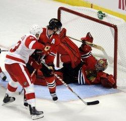 Blackhawks Marty Turco Red Wings Johan .Franzen in Chicago