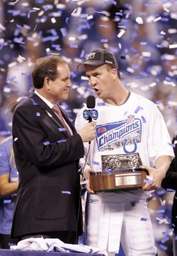 Colts Manning Celebrates Win Over Jets