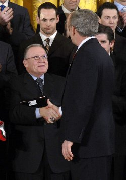 U.S. PRESIDENT GEORGE W. BUSH MEETS WITH THE 2006 STANLEY CUP CHAMPIONS CAROLINA HURRICANES