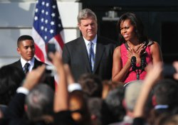 First lady Michelle Obama speaks at the Healthier US School Challenge in Washington