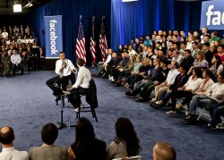 President Obama holds a town hall meeting at Facebook headquarters in Palo Alto, California