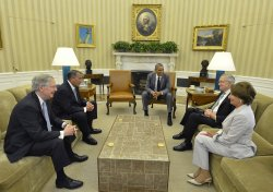 President Obama hosts Congressional leaders at the White House for talks on Iraq