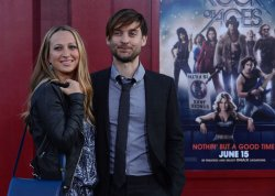"Tobey Maguire and Jennifer Meyer attend the ""Rock of Ages"" premiere in Los Angeles"