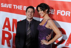 "Jason Biggs and Shannon Elizabeth attend the ""American Reunion"" premiere in Los Angeles"