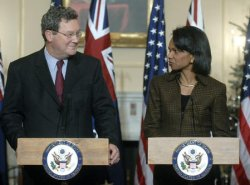 SECRETARY OF STATE RICE HOLDS A JOINT PRESS CONFERENCE WITH MINISTER OF FOREIGN AFFAIRS DOWNER