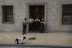 Protester at Officer Caesar Goodson's trial in Baltimore