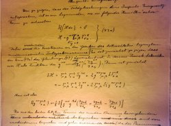 A close-up of a page of the original manuscript of Albert Einstein's General Theory of Relativity is displayed in Jerusalem