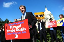 Sen. Sherrod Brown (D-OH) speaks at a rally opposing job killing free trade agreements in Washington