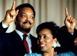 Jesse Jackson and his wife Jackie celebrate his victory in the District of Columbia primary.