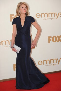 Christine Baranski arrives at the Primetime Emmy Awards in Los Angeles