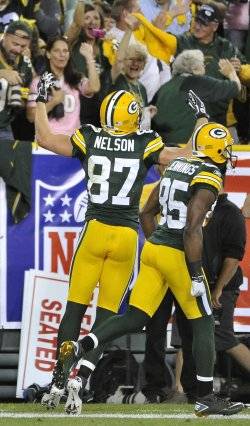 Packers Nelson and Jennings celebrate touchdown in Green Bay, Wisconsin