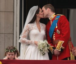 Little Girl Covers Her Ears as Prince William and Princess Catherine kiss after their wedding