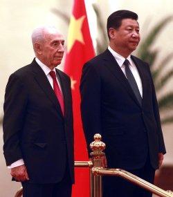Israeli President Peres attends welcoming ceremony in Beijing