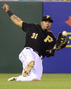Pittsburgh Pirates Jose Tabata Sliding Catch in Pittsburgh