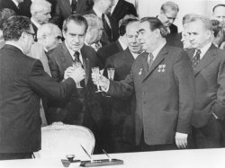 Kisisnger, Nixon and Brezhnev share a toast after signing agreements at the Kremlin