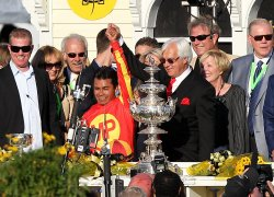 Lookin At Lucky and new jockey Martin Garcia win the 135th running of the Preakness Stakes in Baltimore