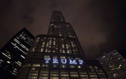 Trump Tower Sign Shines Brightly in Chicago