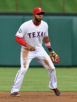 Texas Rangers Evlis Andrus in action against the Angels in Arlington,