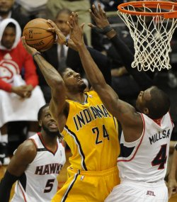 The Atlanta Hawks play the Indiana Pacers in Game 6 of the NBA playoffs