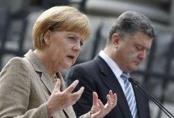 German Chancellor Angela Merkel and Ukrainian President Petro Poroshenko meet in Kiev