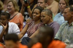Obama and Family Watch a Basketball Game in Hawaii