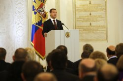 Russian President Medvedev makes his annual state of the nation address in Moscow