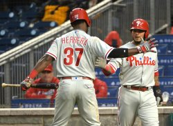 Phillies' Odubel Herrera and Freddy Galvis celebrate
