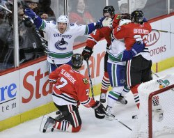 Canucks Torres reacts after penalty against Blackhawks in Chicago