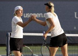 Maria Sharapova and Martina Navratilova at the U.S. Open Tennis Championships in New York