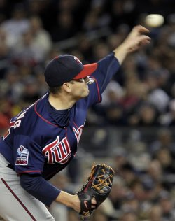 Minnesota Twins starting pitcher Brian Duensing in Game 3 of the 2010 ALDS at Yankee Stadium in New York