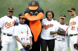 First Lady Michelle Obama attends baseball game in Baltimore