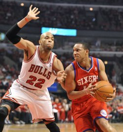 76ers' Turner drives on Bulls' Gibson during Playoff in Chicago