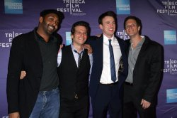"Jesse L. Martin, Mark Kassen, Chris Evans and Adam Kassen arrive for the Tribeca Film Festival Premiere of ""Puncture"" in New York"