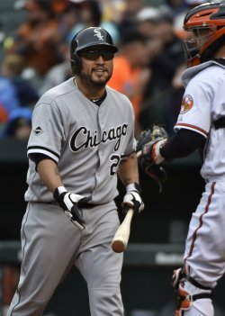 White Sox batter Dioner Navarro strikes out against the Baltimore Orioles