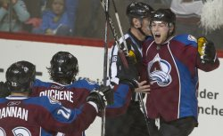 Avalanche O'Reilly Celebrates Game Winning Goal Against the Sharks in Game Three in Denver
