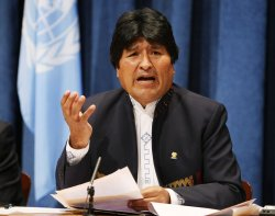 Bolivia's President Evo Morales holds press conference at Millennium Development Goals Summit at the United Nations.