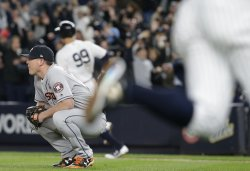 Houston Astros relief pitcher Will Harris reacts in ALCS