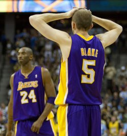 Lakers Blake and Bryant React During the NBA Western Conference Playoffs First Round Game Three in Denver