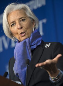 Christine Lagarde, Managing Director or the International Monetary Fund (IMF), delivers remarks in Washington, D.C
